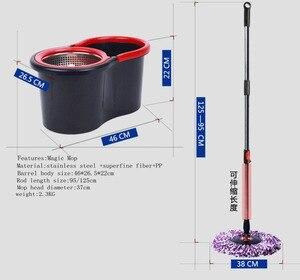 Image 2 - Sihirli Paspas Kovası Kolay Mikrofiber Paspas Dönen Paspas Ev Zemin temizleme seti 4 paspas başlıkları