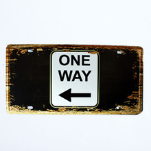 """ONE WAY"" Tinplate Office Decoration Metal Plate"