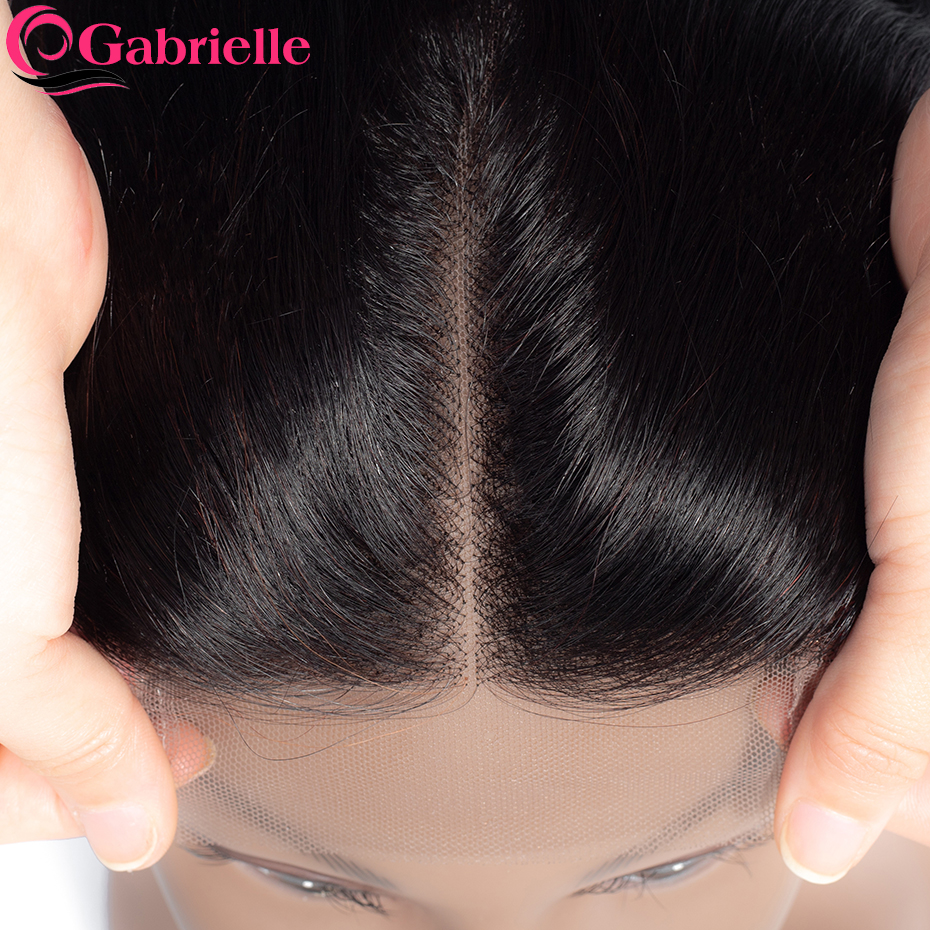 Gabrielle Indian Hair Top-Closure Lace Swiss Natural-Color Straight Free/middle/three-part