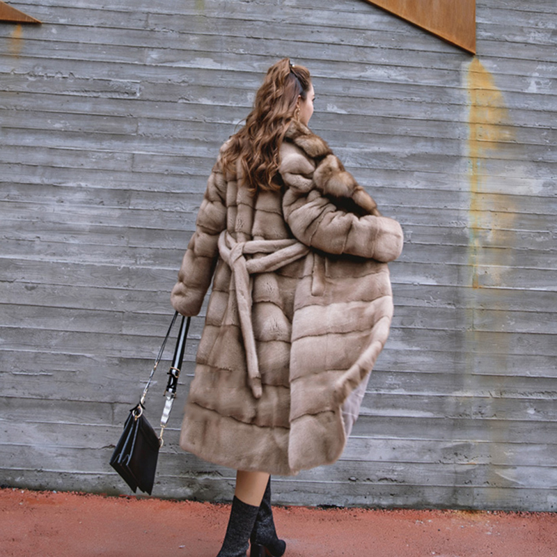 Velours Manteau De Vers Le Rayé Réel Cygne Lvchi Naturelle Femmes X long Fourrure Importations Tour Vison Camel Hiver Col 2019 Bas gwaYxqIX