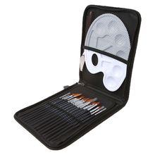18 Pz/set Pennello di Legno Dipinto in Acrilico Tavolozze Gouache Arte Cosmetici Kit Disegno Penne L29K