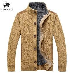 Черный свитер мужской зимний теплый толстый бархатный свитер однобортный повседневный мужской свитер с узором трикотажный кардиган мужск...