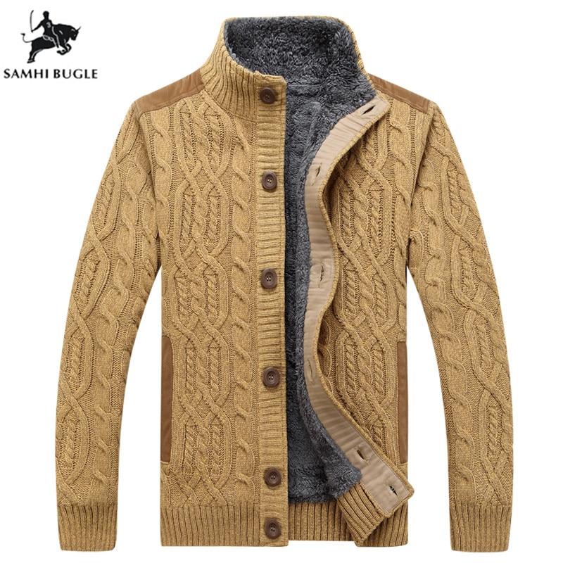 Men's Sweaters Winter Warm Thick Velvet Sweatercoat Single-breasted Casual Cardigan Men Sweaters Pattern Knitwear XXL XXXL