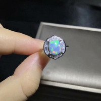 Fashion elegance sunflower Natural Multicolor opal Ring S925 Silver Natural Gemstone Ring Women's party fine gift Rings Jewelry
