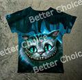 Pista do Navio + New Retro Vintage T-shirt Alice no País Das Maravilhas Cheshire Gato Grande Olho na Floresta Profunda 1063