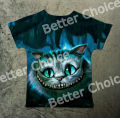 Track Ship+New Vintage Retro T-shirt Alice in Wonderland Big Eye Cheshire Cat in Deep Forest 1063