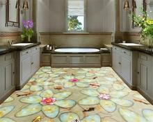 beibehang 2019 new three-dimensional decorative painting personality wallpaper pebble carp lotus dreamy interior floor