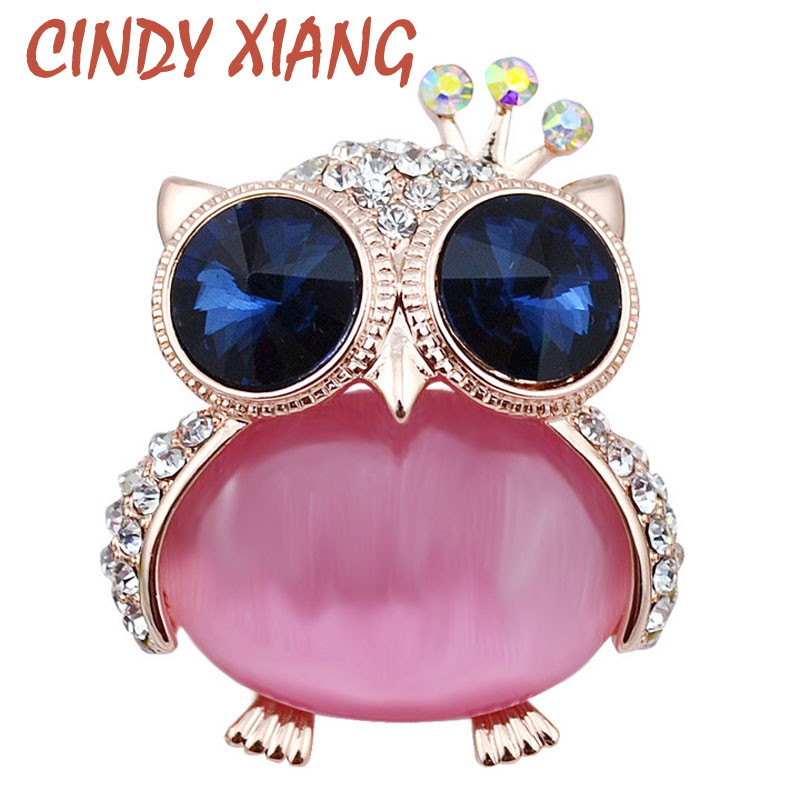 CINDY XIANG 2 Color Elegir Big Opal Cute Owl Pins Y Broches Para Las Mujeres Rhinestone Animal Broches Joyería de Moda de Estilo Coreano