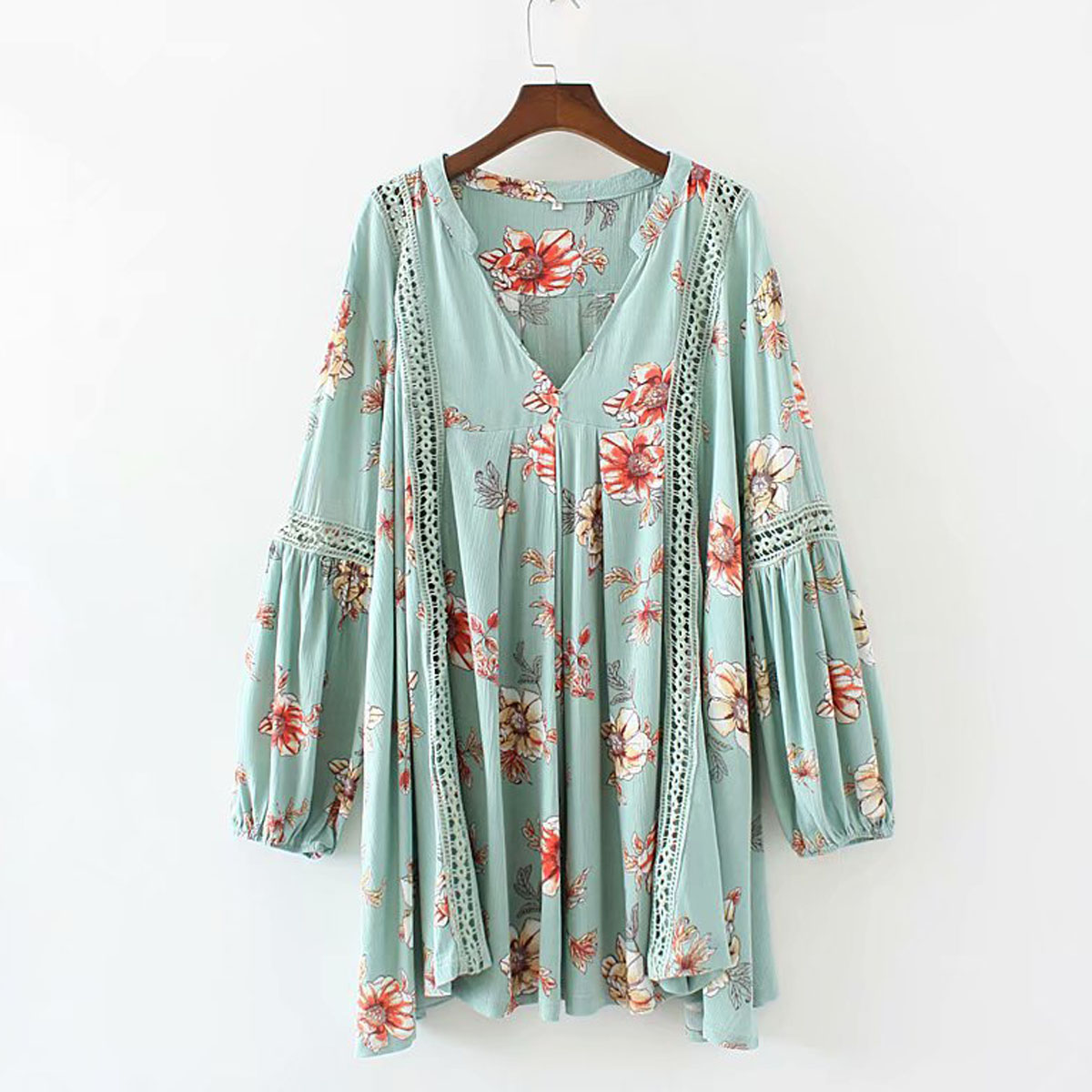 Jastie Flower Print Babydoll Swing Tunic Mini Dress V Neck Long Sleeve Women Dresses Hollow Lace