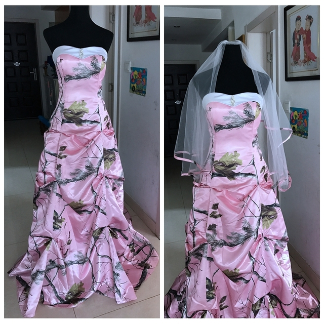 Real Pic Pink Camo Wedding Dress Draped Skirt Camouflage With Veil ...
