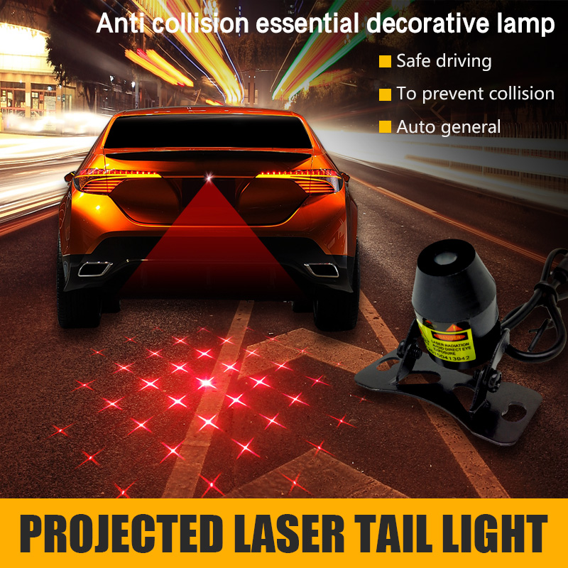 Car styling Current Laser Decorative Brake Fog Projection Warning Anti-Collision Driving Safety Signal Rear LED Lamps Lights