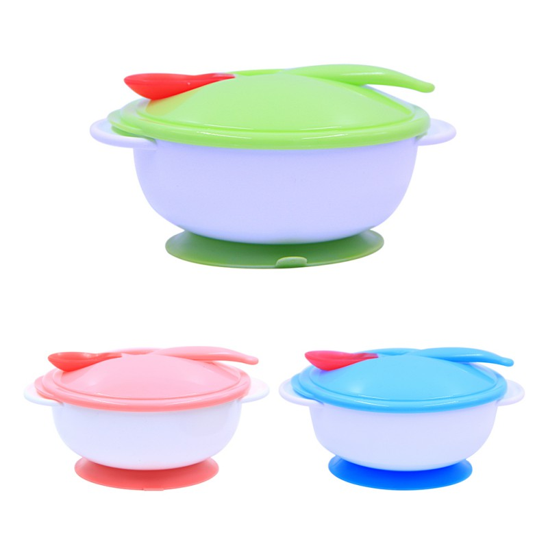 Baby Feeding Bowl with Sucker and Temperature Sensing Spoon Suction Cup Bowl Dishes Slip resistant Tableware in Dishes from Mother Kids
