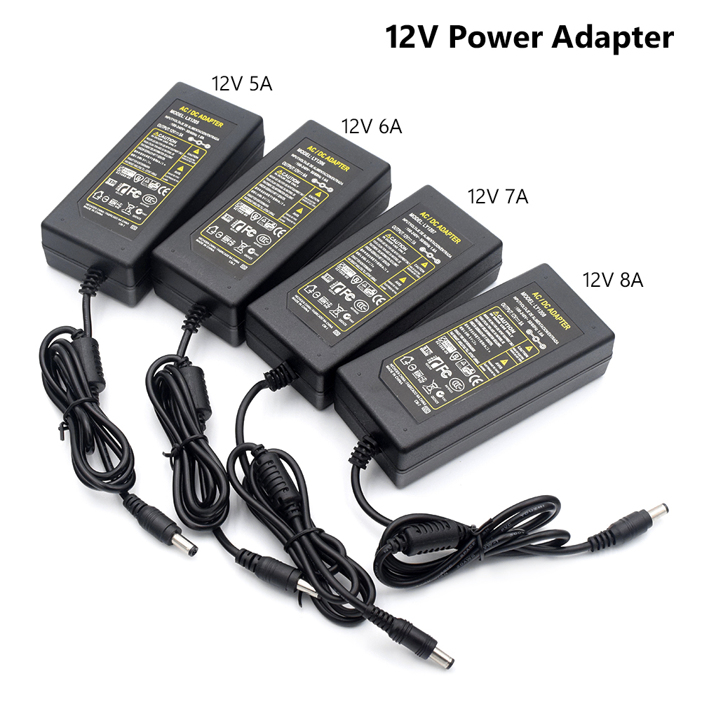 TSLEEN AC DC Power Supply 12V 5V Adapter Charger Transformer 5A 6A 7A 8A For LED Strip Light CCTV Power Supply Adapter No Cord new 12v 1 5a for acer iconia tab a510 a511 a700 a701 tablet charger ac dc adapter acer cable charging free shipping