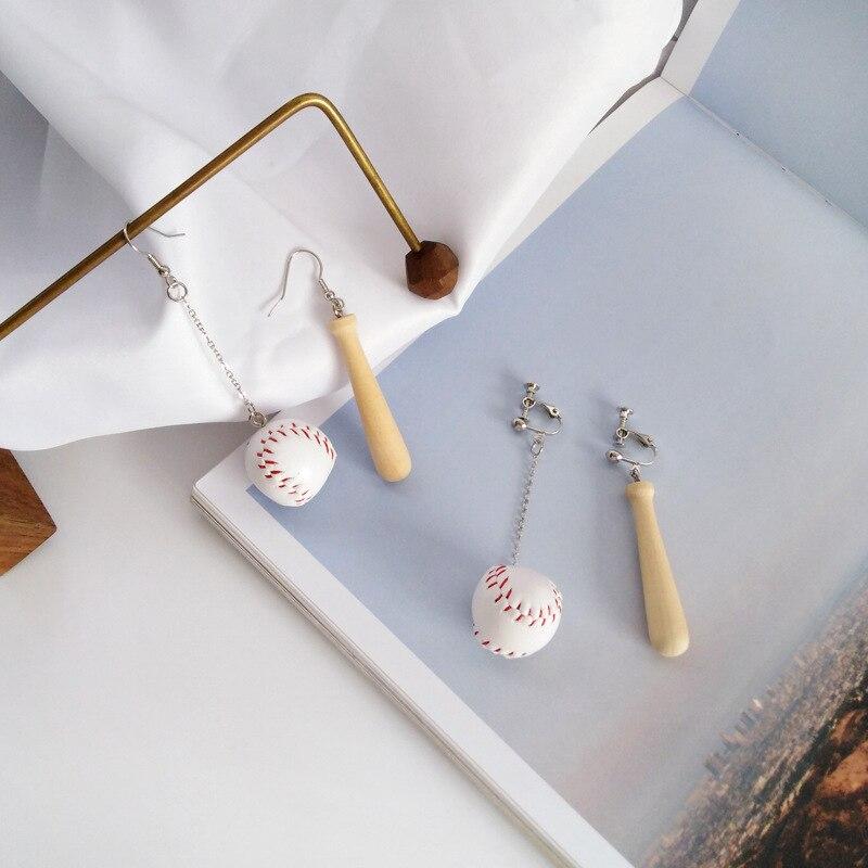 Stylish Cute Baseball Asymmetric Ear Clips Funny Simple Wood Mini Ball No Hole Earring Casual Bulgaria Jewelry For Women Fast Color