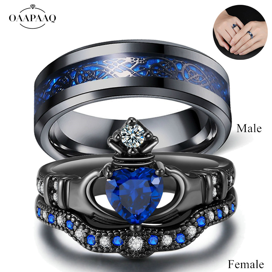 Couple Wedding Promise Rings Cubic Zirconia Black Womens Ring Set
