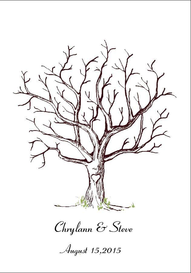 Aliexpress Com Buy Canvas Wedding Fingerprint Tree Guest