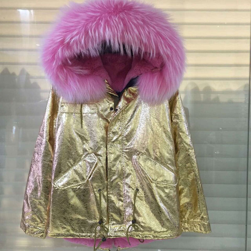 Elegant Gold leather women jacket with different color fur,Italy brand women warm faux fur jacket