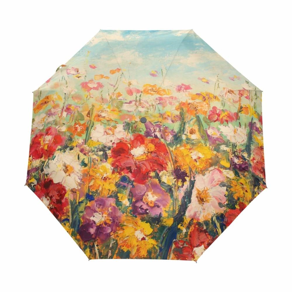중국어 비 우산 3 접는 우산 안티 자외선 야외 여행 솜 브리앙 유화 전체 Autumatic Sonnenschirm Sun Ombrello