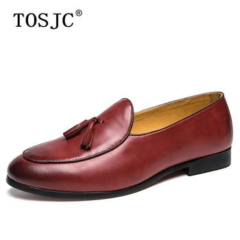 цена TOSJC Mens Tassel Loafers Split Leather Formal Wedding Party Shoes For Man Elegant Dress Oxfords Male Casual Slip On Footwear онлайн в 2017 году