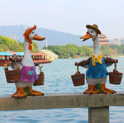 Cartoon duck for outdoor animal sculpture. Decoration. Garden view villa garden. Yard decoration
