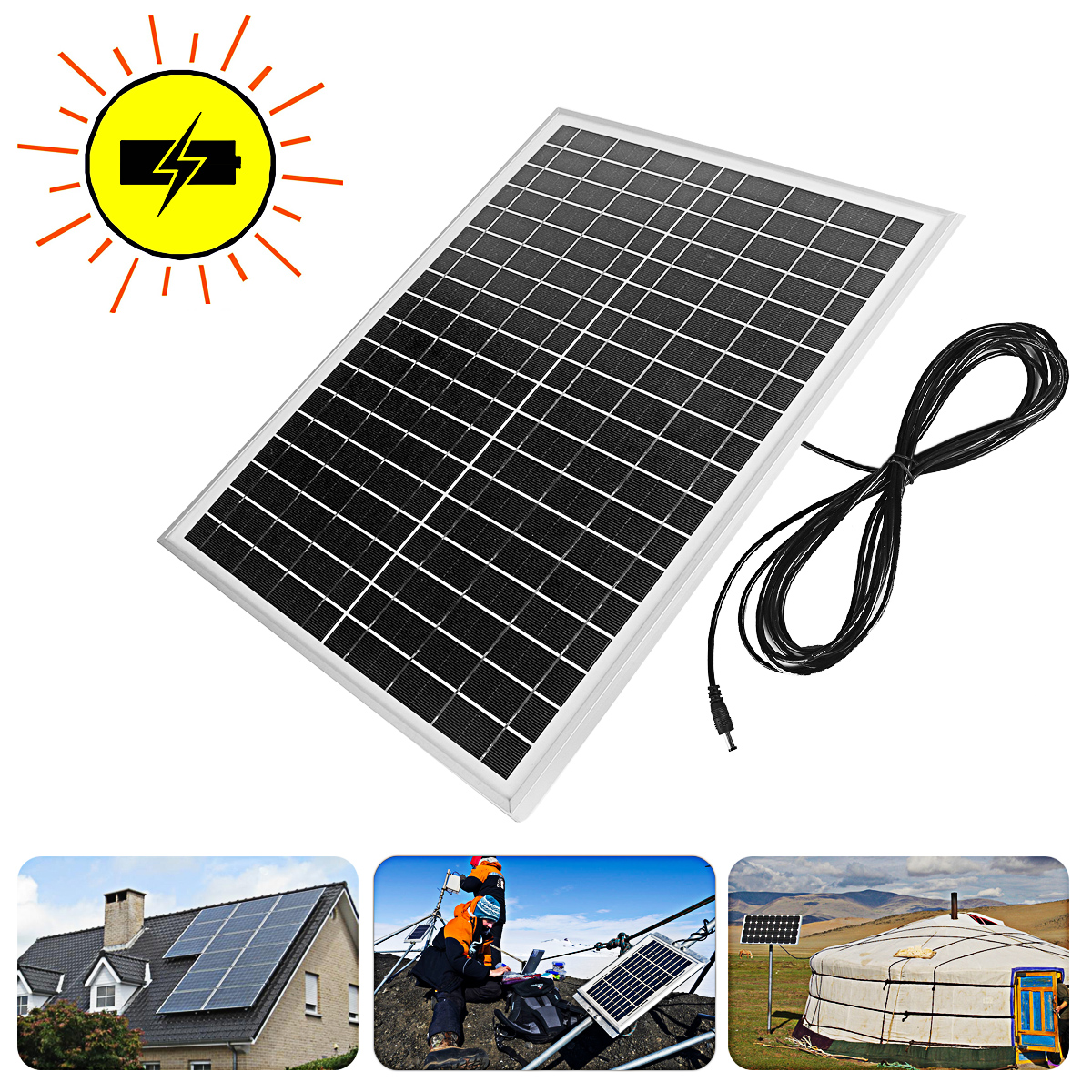 20W 18V Power Storage Generator Solar Panel LED USB Charger DIY Battery Power Charge Module for Home System Outdoor 46*35*2cm solar panel power storage generator system led light usb charger portable home outdoor led lighting system support fm radio