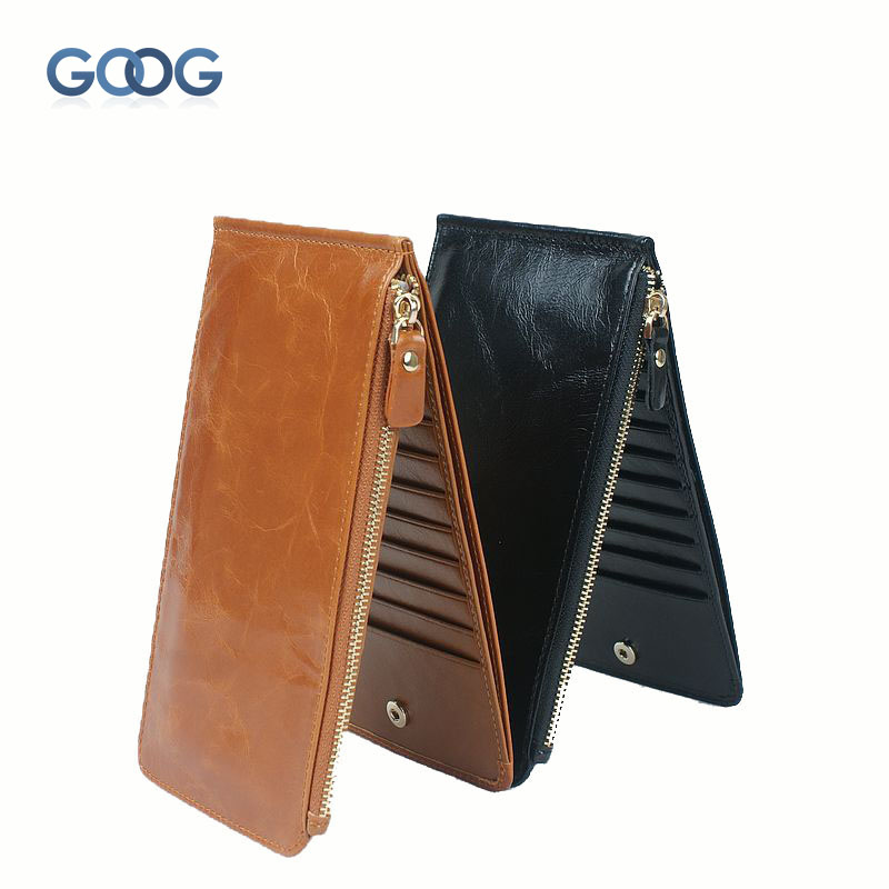 Oat wax leather wallet leather multi-card bit retro wallet magnetic buckle card bag imports the first layer of leather ultra-thi
