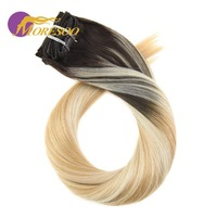 Moresoo 100g 16 24 Balayage Color Clip In Hair Extensions 100% Human Hair Extensions Full Head Set Straight Hair 7Pcs