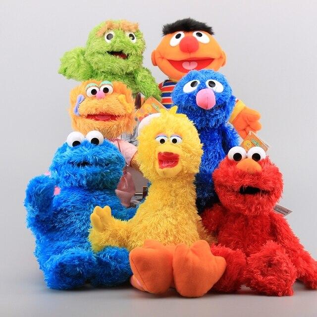 9 estilos Bert Sesame Street Elmo Biscoito Grover Big Bird Stuffed Plush Toy Crianças Educacional Bonecas Macias 28-35 cm