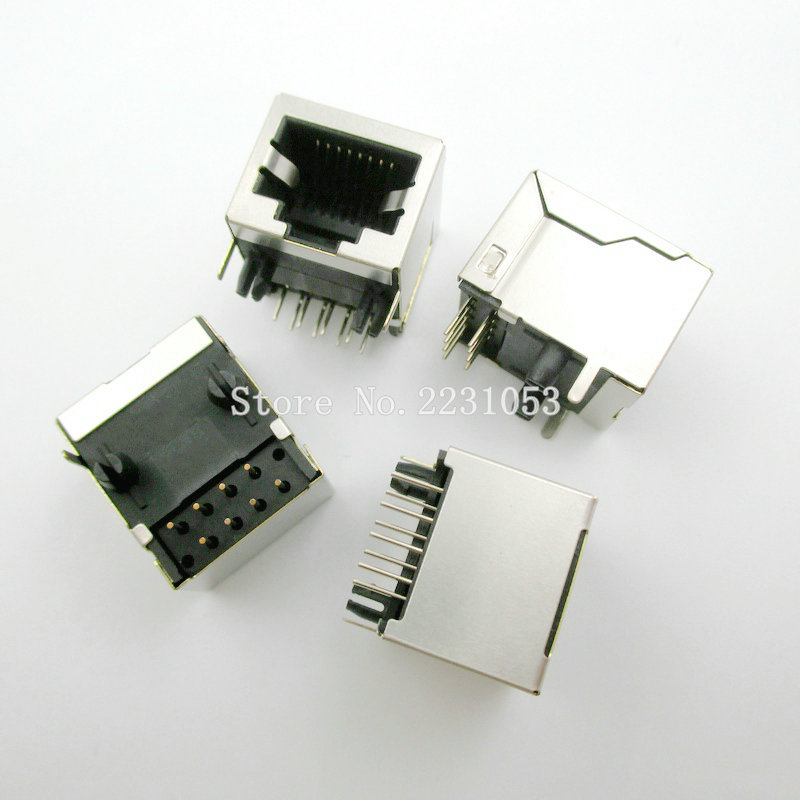 цена на 10PCS/LOT Per Lot RJ45 Metal 8 Pin Female PCB Right Angle Board Jack Connector 8P8C