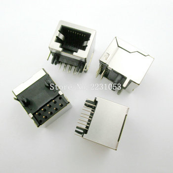 10PCS/LOT Per Lot RJ45 Metal 8 Pin Female PCB Right Angle Board Jack Connector 8P8C - sale item Electrical Equipment & Supplies