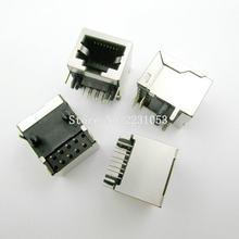10PCS/LOT Per Lot RJ45 Metal 8 Pin Female PCB Right Angle Board Jack Connector 8P8C
