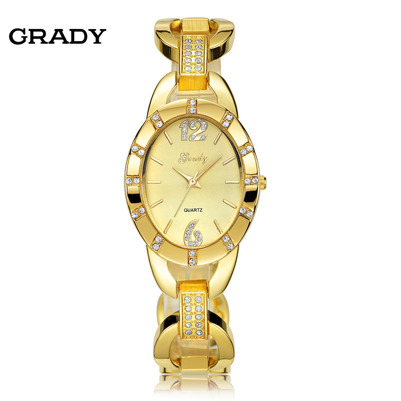 Grady Fashion Gold Watch Women Gold Face Women Watches 3 Colors Quartz Watch Free Shipping 2017 new women watch fashion neutral diamond lovely cats face faux leather quartz watch female free shipping dec 9 40