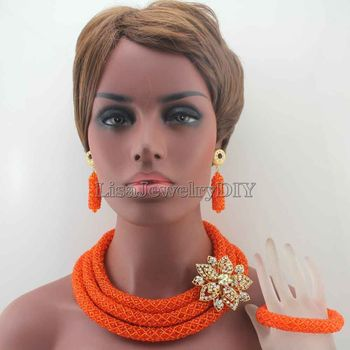 New Unique Orange Costume African Jewellery Sets African Women Style Nigerian Wedding Crystal Beads Jewelry Free Shipping HD7889