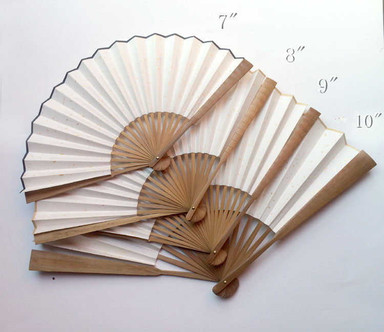 Oil Bamboo Joints Rice Paper Hand Fan White Adult DIY Fine Art Painting Program Large Chinese