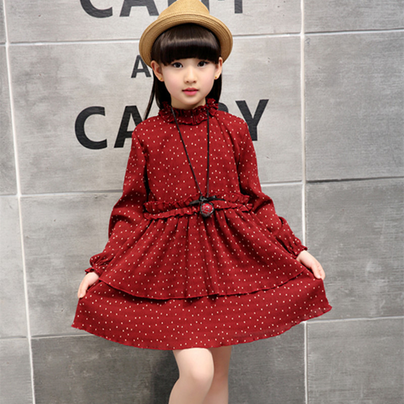 Children's Girl Dress Spring And Autumn New Pattern Child Children Necklace Kids Clothing