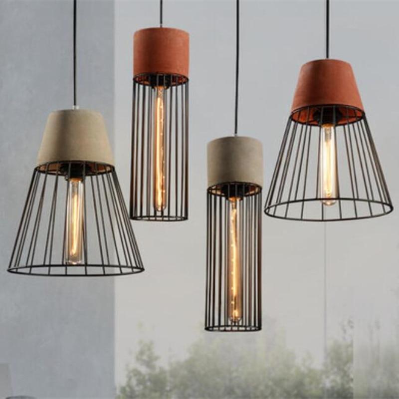 Vintage Loft Retro Cement Iron Art Led E27 Pendant Light Industrial Lamp For Dining Room Coffee Bar Restaurant Deco A022