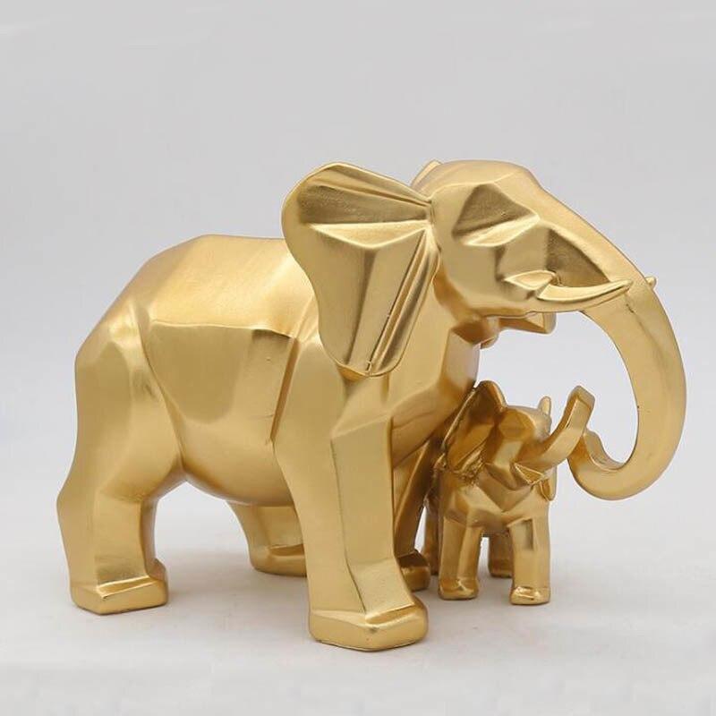 Or moderne géométrique or éléphant résine décoration de la maison accessoires artisanat pour Sculpture Statue ornements mère et enfant