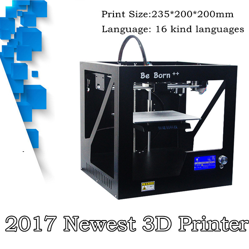 2017 Newest Sheet Metal Box Type Structure 3D Printer Support Input USB SD Card 3D Printer With Free ABS or PLA Filaments 1KG micromake 3d printer pulley version diy kit metal 3d printer kossel delta with 8g sd card and test materials