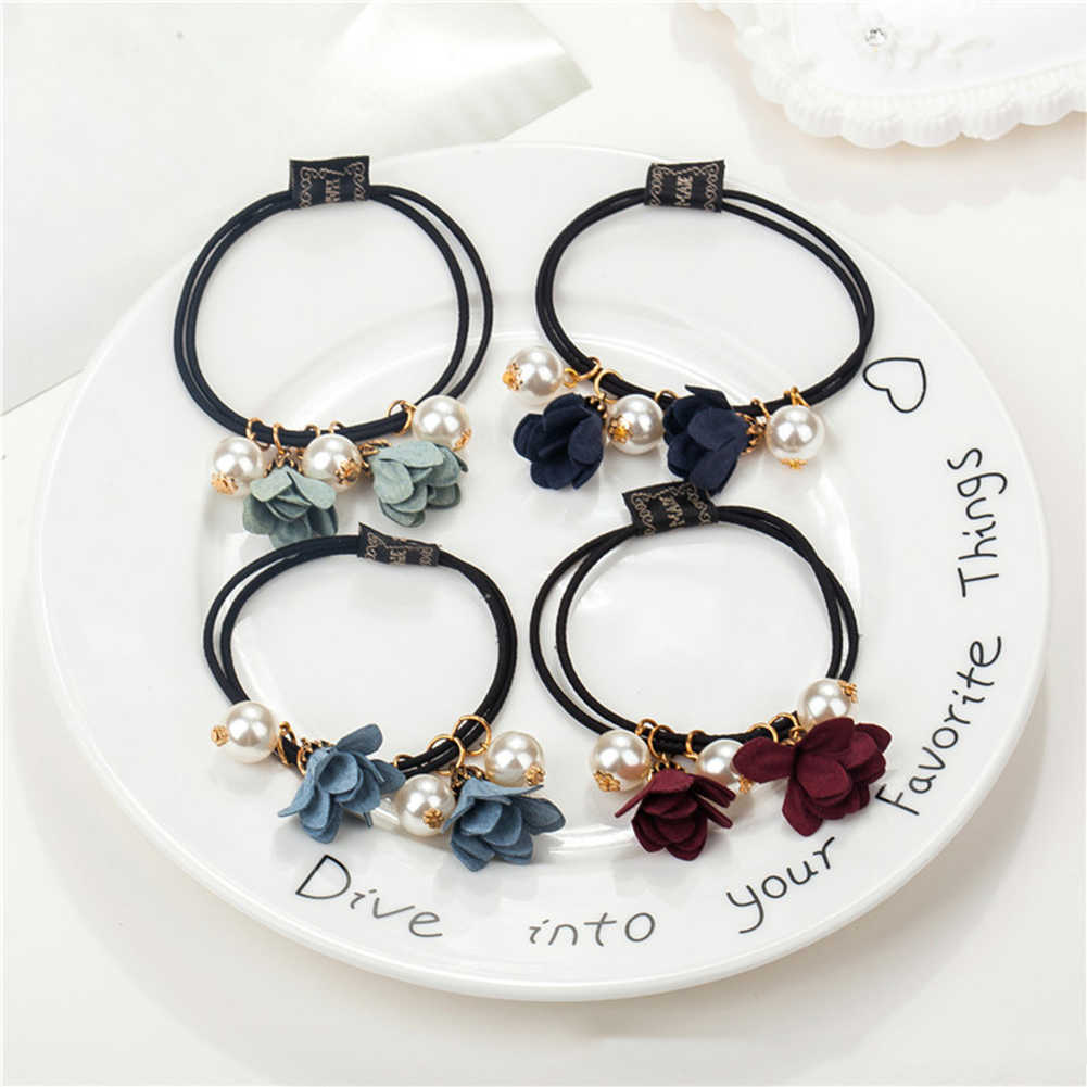 1 Pc Fashion Women Beads Flower Pearls headband Ponytail Holder Scrunchies Hair Rope with Pearl Girl Hair Circle Hair Ornament