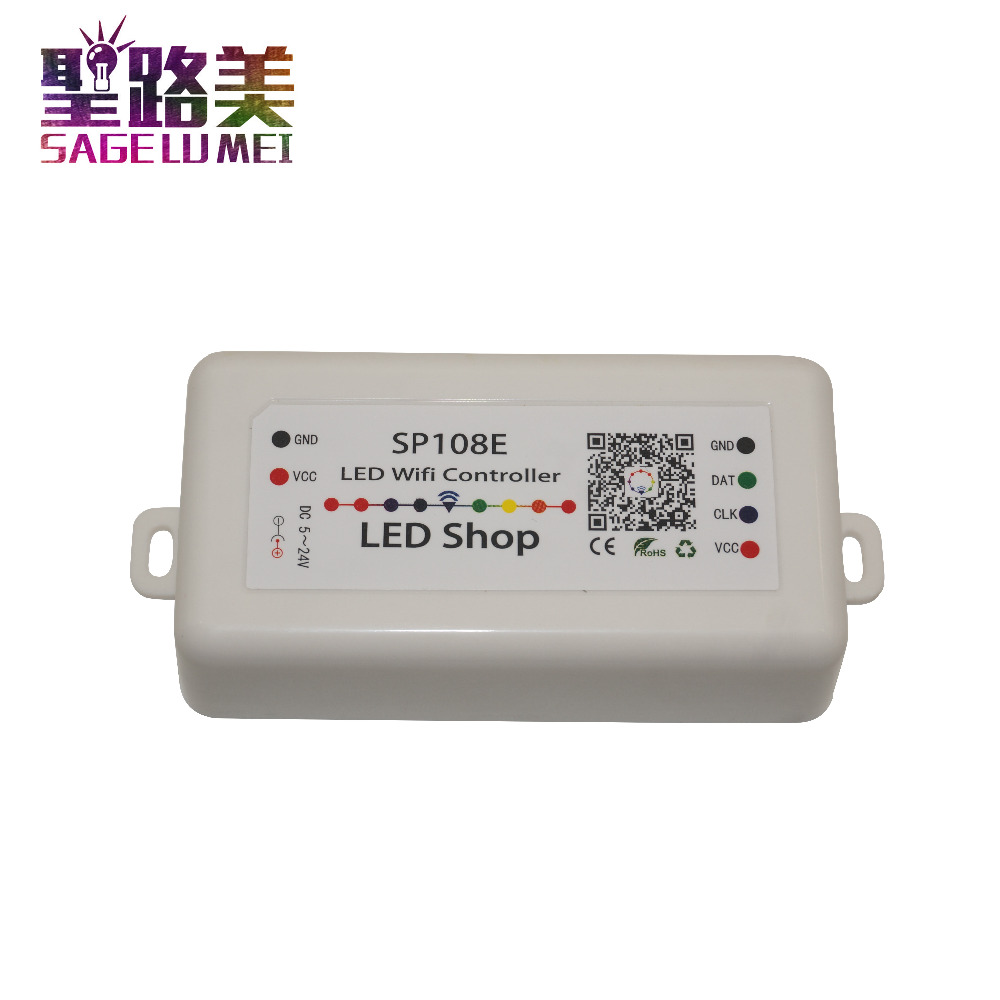 DC 5V 12V 24V SP108E LED WIFI Controller SPI Pixel Controller Phone APP IOS Android For WS2811 WS2812 WS2813 LED Strip Light