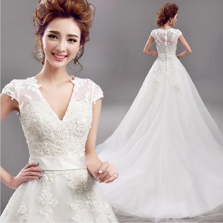 Fansmile 2019 Vestido De Noiva Short Sleeve V Neck Vintage Lace Ball Wedding Dress Bridal Tulle Mariage FSM-640T