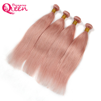 Dreaming Queen Hair Solid Pink Ombre Brazilian Straight Human Hair Weave Bundles Non Remy Peachy Rose