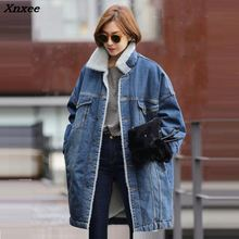 Autumn Winter Jeans Jacket Women Casacos Feminino casual Denim Female Elegant Vintage Bomber 2018 Basic Long Coats