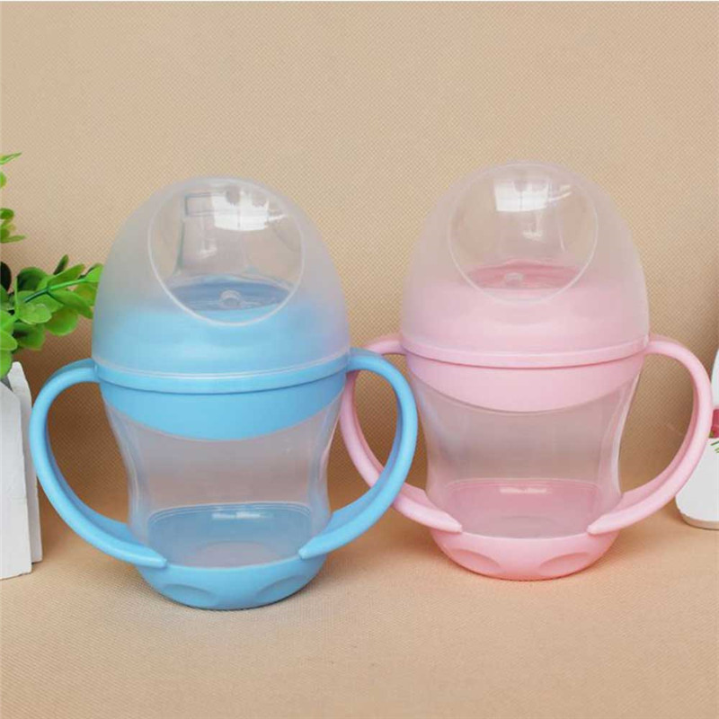 Baby feeding bottle 160ML Kid Toddler Soft Duckbill Mouth Drinking Bottle Handle Sippy Infant milk bottle