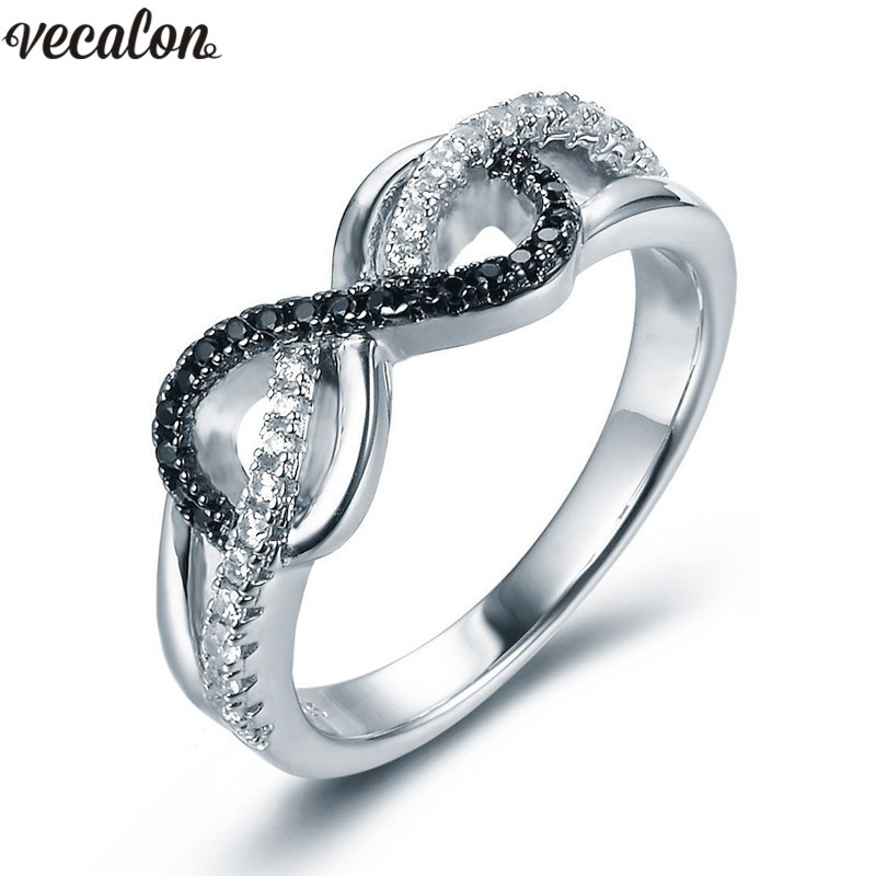 Vecalon Female infinity ring Silver Color AAA Cz Crystal Engagement wedding band rings For women Dropshipping Finger Jewelry