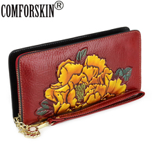 COMFORSKIN New Arrivals Long Embossing Flower Wallet Genuine Oil Waxing Leather Large Capacity Women Zipper Purse With Hand Rope