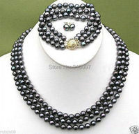 LHX54013>>>Real 3 rows 7 8mm black pearl earrings bracelet necklace sets