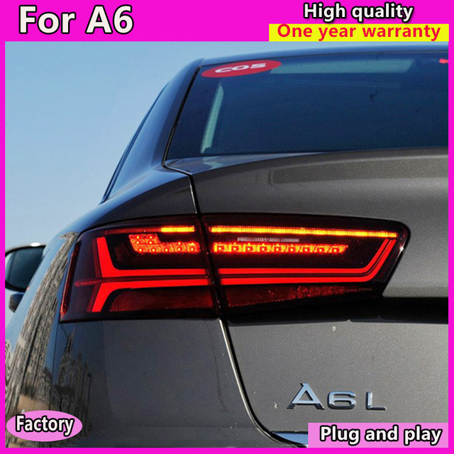 car styling For Audi A6 taillights 2012 2016 for A6 rear lights LED DRL + dynamic turn +brake+Rever+Rear fog taillight assembly