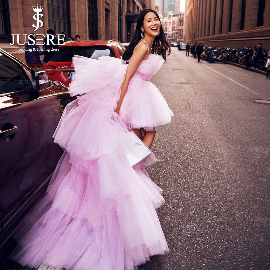 High Low Strapless Neckline Tiered Pink Tulle Celebrity Long Train Sexy  Formal Prom Lady Wear Evening Dresses 2018 bba1d28f830d