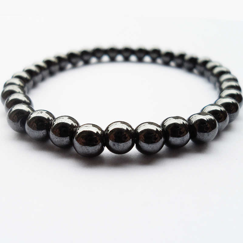 2019 Nwe Goods 6MM Black gallstone hematite Buddha beads couples health Semi-precious Stone Bracelet Jewelry